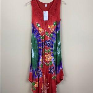 Ace Fashion Boho Tie Dye Midi Sun Dress--Red
